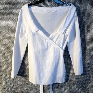 Zara trafaluc collection wrap blouse white size L